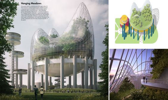 """First place went to Aidan Doyle and Sarah Wan of Seattle, Washington, for """"Hanging Meadows."""" They summarize their project as seeking """"to rekindle the powerful legacy of the NY State Pavilion by repurposing the original structure to create a suspended natural environment. Hanging Meadows will collect, organize and exhibit flora native to particular parts of the Northeastern US."""""""