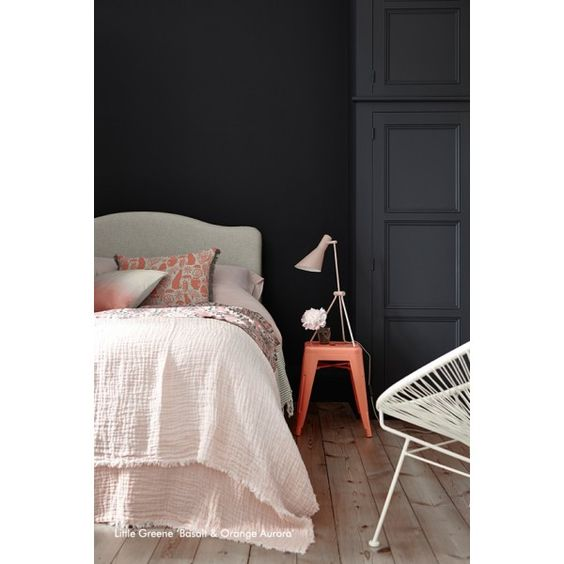 Peinture Little Greene - Orange Aurora & Basalt #paint #bedroom #littlegreene http://www.papierspeintsdirect.com/peintures.html
