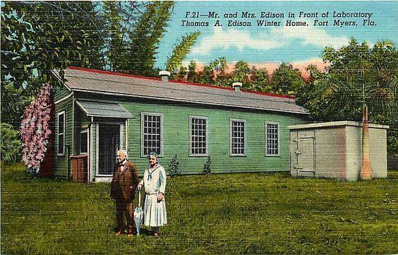 Fort Myers Florida 1930s Thomas Edison Laboratory Antique Vintage Linen Postcard