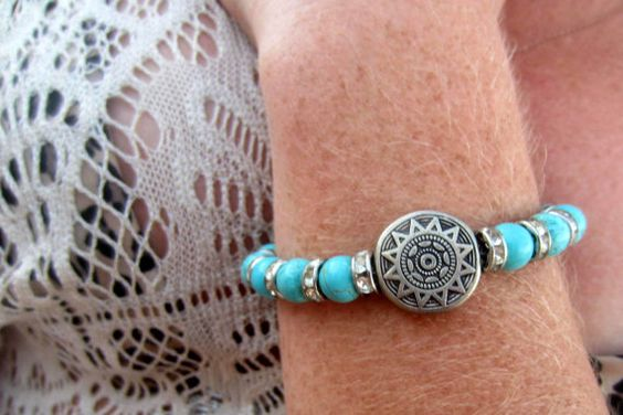 Turquoise & Silver Bracelet #jewelry #bracelet #etsy #handmade #bohemian #boho #hippie #festival #music festival #oneofakind #unique #silver #turquoise #chain #fashion #bracelet
