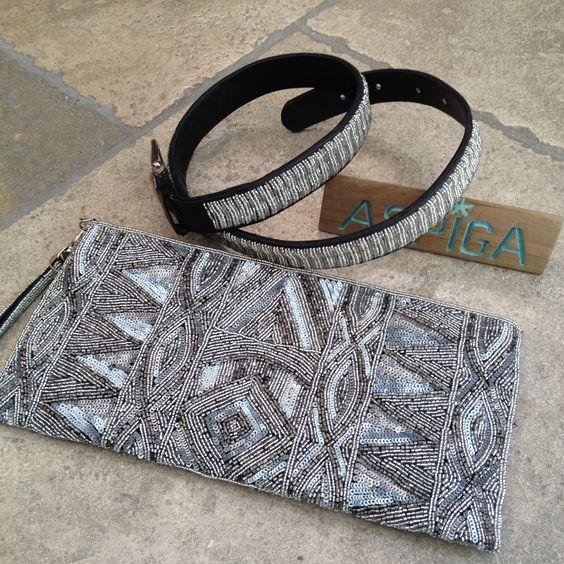 Pochette et ceintures perlées et cuir ASPIGA.