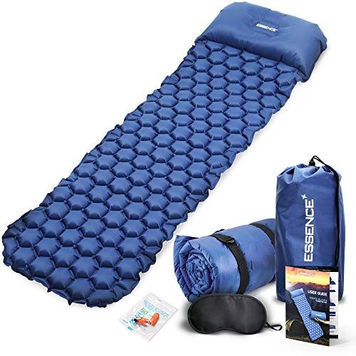 Essence Sleeping Mat With Pillow Ultralight Self Inflating Camping Mattress Roll Thick Cushion Inflatable Camping Bed Camping Pillows Camping Sleeping Pad