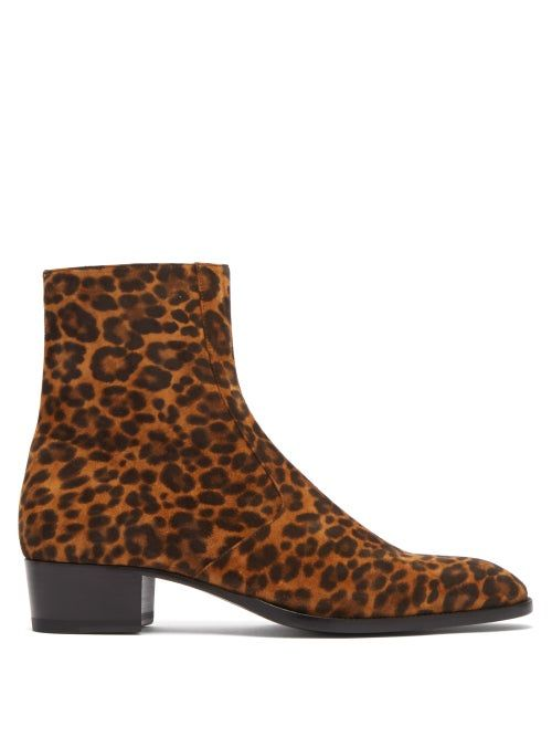 Saint Laurent Wyatt Leopard-print Suede