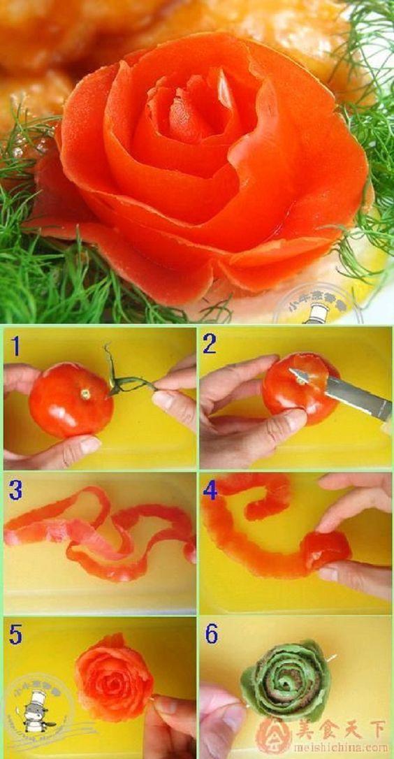 Rosen aus Tomatenschalen