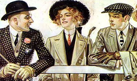 The Young large women adopted the tall, stiff collars and narrow neckties worn by men. Advertisement for Arrow shirt collars, 1907.
