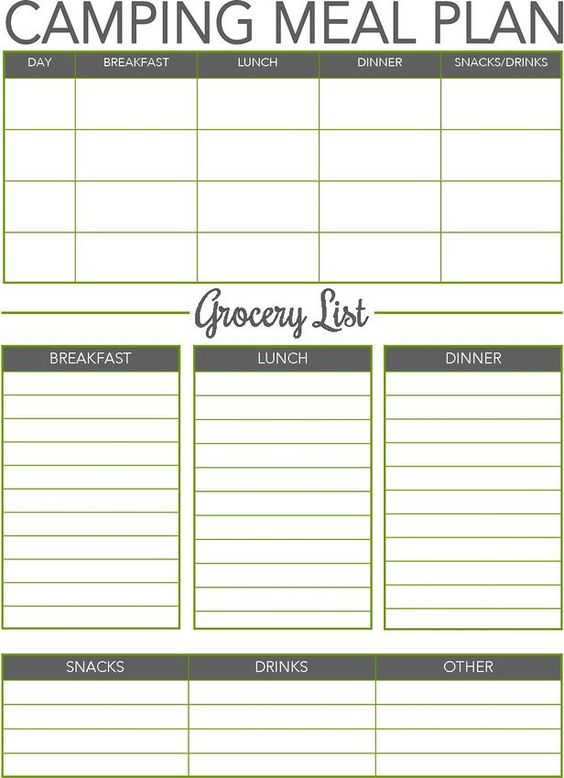 Find out about CAMPING MEAL PLANNER