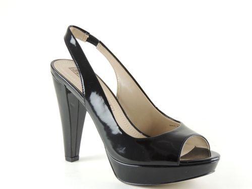 Ellen Tracy Women's EB-NIGHTS Shoes Black Patent Platform Open Toe Pumps Size 6