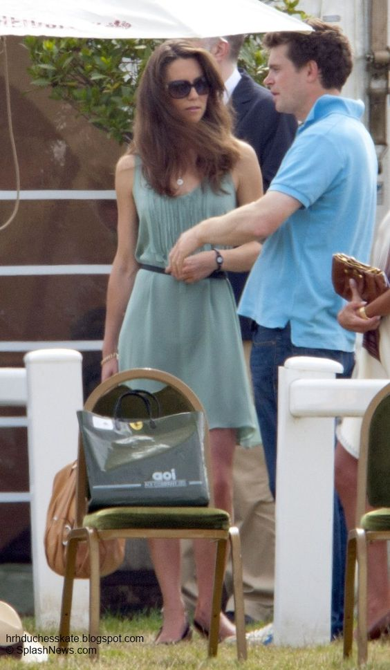 Just months before the announcement of the royal engagement Kate proudly cheered on her prince at the Beautfort Polo Club wearing a mint green Joseph dress.