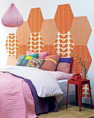 headboard made of assorted wallpapers