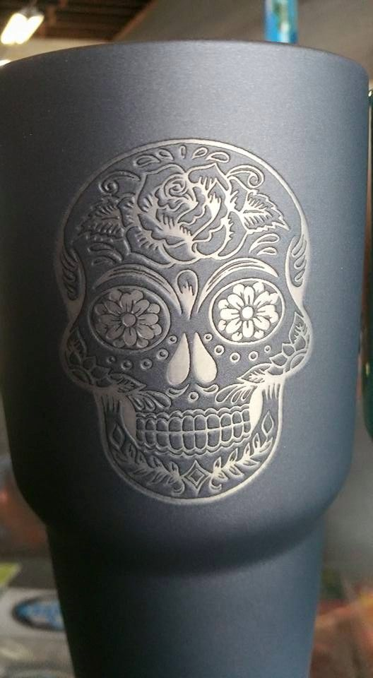Sugar Skull Cutom Yeti Ounce Rambler Powder Coated And Laser - Sugar skull yeti cup