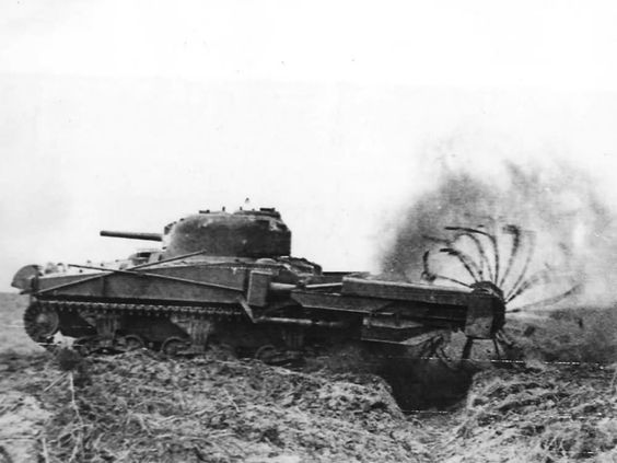 British M4 Sherman Crab Flail Tank Explodes Mines in Normandy 1944