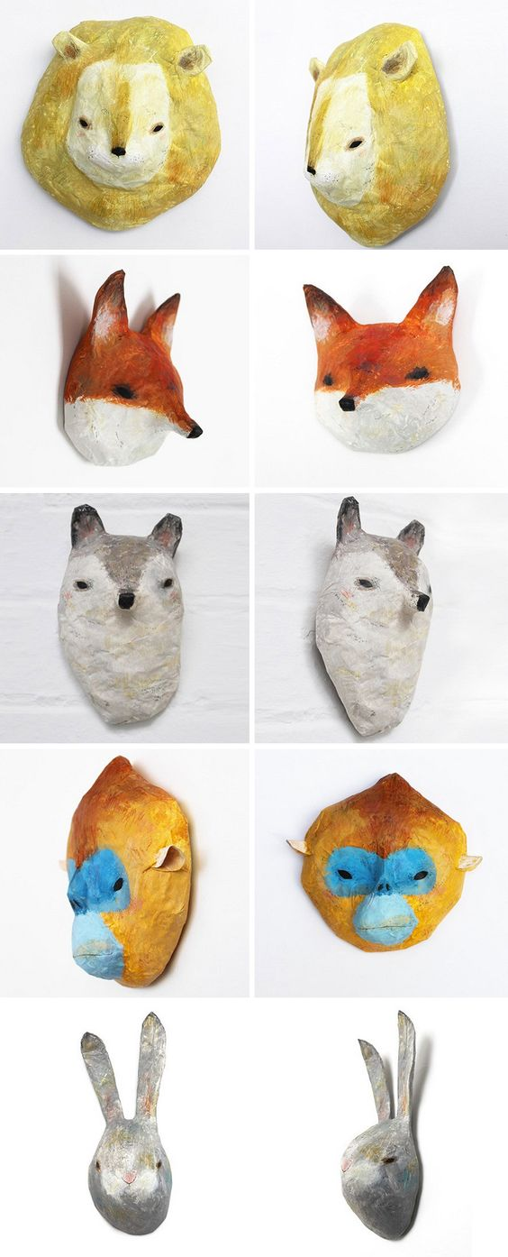 I am in love with these charming paper mache animals for Making paper mache animals