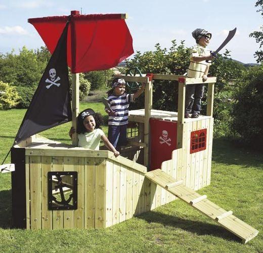 Kids playhouse plans children 39 s wooden playhousesthe - Wooden pirate ship outdoor ...