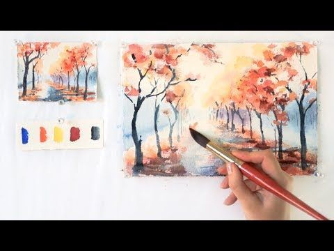 Autumn Alley Step By Step Watercolor Tutorial Part 1 Youtube Watercolor Paintings Tutorials Watercolor Art Lessons Watercolor Paintings For Beginners