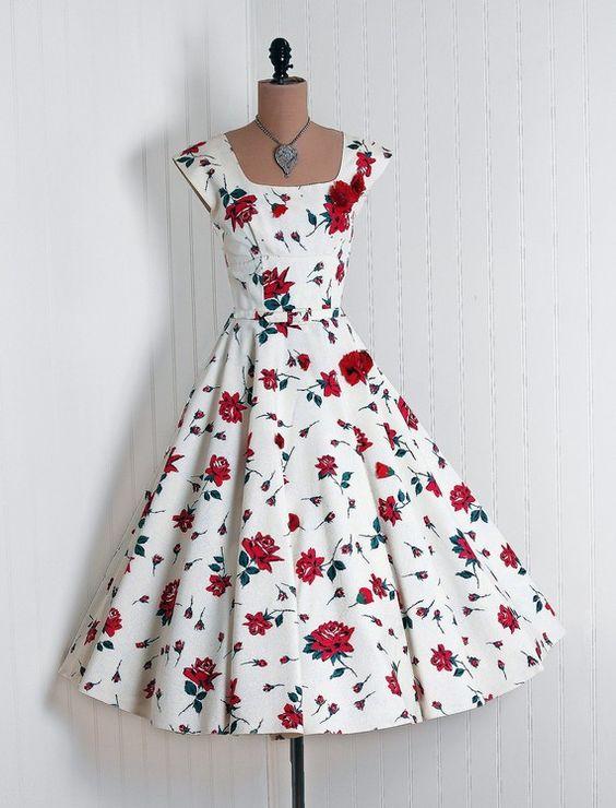 Party Dress: 1950's, watercolor roses on silk taffeta, heavily-appliqued rhinestone bodice.