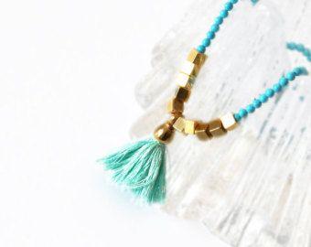 Turchese collana - Collana Boho - collana - collana bohemien - pietra preziosa collana - Collana geometrica - spedizione gratuita