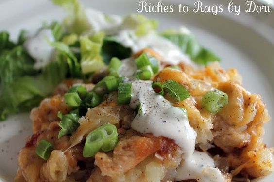 Loaded Skillet Potatoes with Chicken, Bacon, Cheese, Cream, and more....
