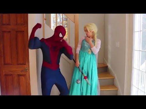 الاميرة فروزن تهاجم سبيدرمان و الجوكر يتزحلق فيديو للأطفال Youtube Disney Princess Disney Disney Characters