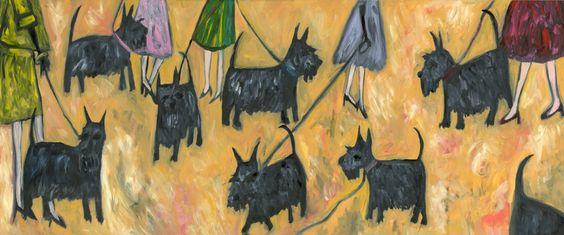 Scottie Parade. Limited edition 13x19 print by Vivienne Strauss.. $50.00, via Etsy.