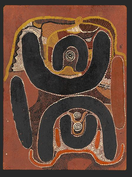 Mick Wallangkarri Tjakamarra, Old man's Dreaming on death or destiny, 1971, synthetic polymer paint on composition board,60.9 x 45.7 cm.,  National Gallery of Victoria, Melbourne