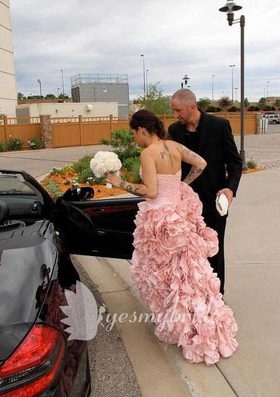 Pink Strapless Wedding Dress With Fully Ruffled Skirt