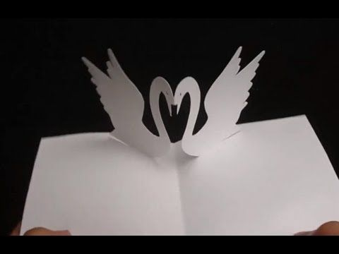 Download Free Template Here Http Www Mediafire Com Download Lud1eb3mhadjwdx 3d Heart Of Swans Pop Up Card Pdf Simple Cards Card Tricks Card Tutorial