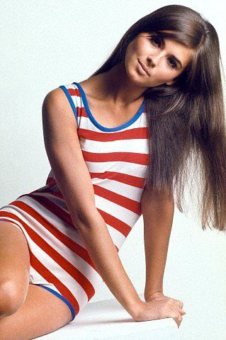 Regine Jaffry wearing red and white striped bathing suit, trimmed in blue, photo by David McCabe, 1967