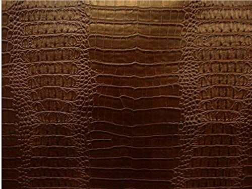 Vinyl Faux Fake Leather Crocodile Nile Brown Embossed Faux