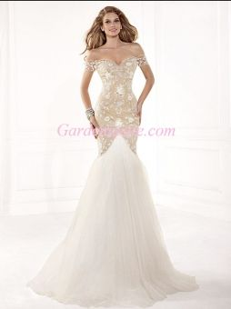 Trumpet/Mermaid Off-the-shoulder Sweep Train Appliques Shiny Beading Tulle Evening Dress 2014