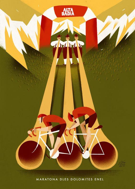 """Maratona dles Dolomites - Enel 2017. Riccardo """"Rik"""" Guasco (1975) - Alta Badia (2016). Illustratore e artista, Rik per i trent'anni della manifestazione, ha realizzato trenta tavole dedicate ai momenti più caratterizzanti della corsa: partenza, arrivo, passi, ciclisti, montagne, volontari, sponsor, alberi, nuvole, strade, folla, bici, entusiasmo, sole, fatica, ristori…"""