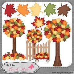 Fall Leaves & Trees 1 - Art by Leah Rae Clip Art