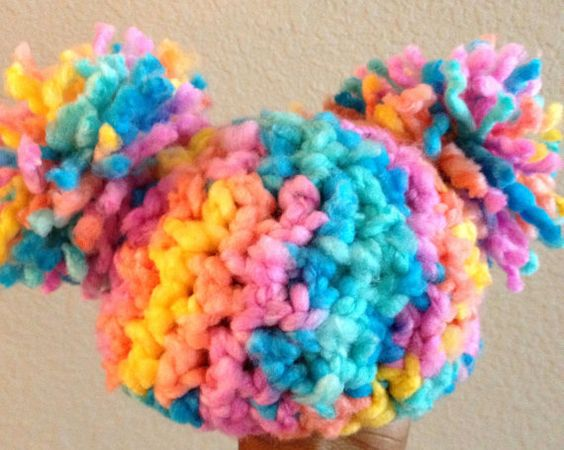 Crochet Baby Hat Pom Pom Hat  Baby Afro Puff Hat  by DopeCrochet, $15.00: Newborn Baby, Crochet Baby Hats, Baby Girl, Pom Pom