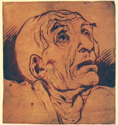 Bozzetto,Honoré Daumier. Uno dei maggiori rappresentanti idealisti,egli si impegna a mostrare la realtà dura che consuma le classi disagiate. Ciò è ben visibile nel volto trasfigurato dell'uomo: il tratto,allenato dall'accademia ad una sapiente modellato della figura,diventa quasi caricaturale per mostrare la sofferenza di un uomo anziano,dalle rughe profonde e dal volto ossuto.