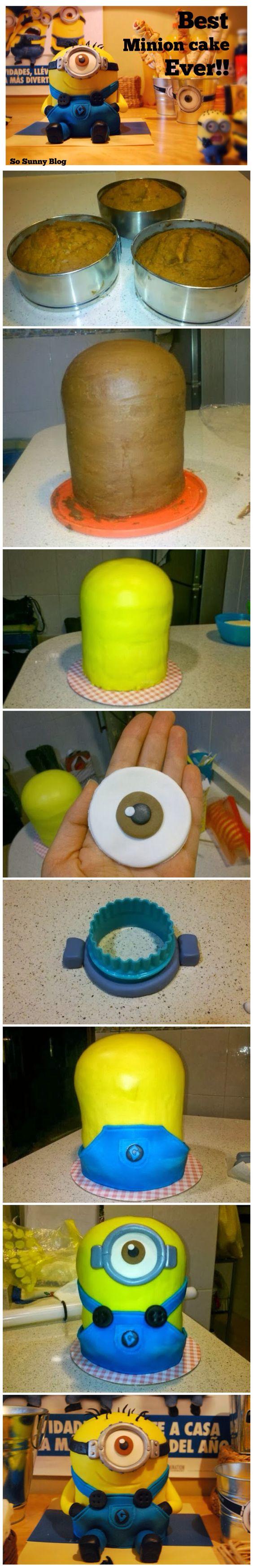 http://sosunnyblog.blogspot.com.es/2013/12/so-sunny-by-paula-tarta-minion-hecha.html DIY Despicable me cake tutorial. Tutorial completo tarta Minion