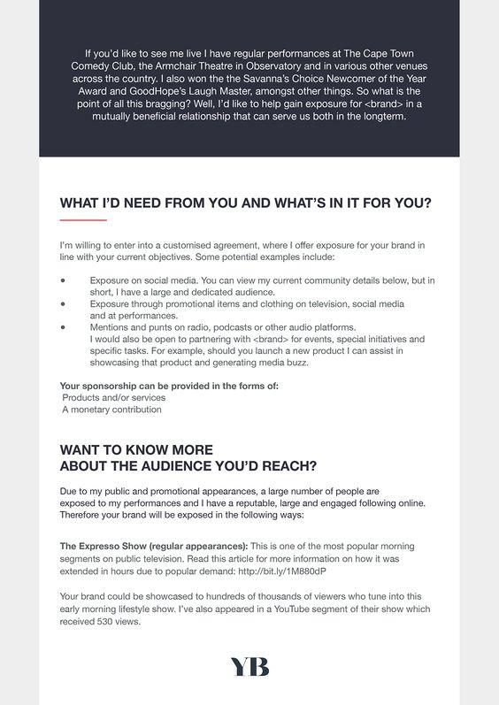 I Designed A Sponsorship Proposal For A Comedian Sponsorship Proposal Proposal Sponsorship Letter