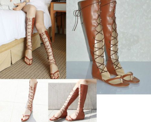 Details about Ladies Tall Calf Knee High Leg Womens Flat Strappy ...
