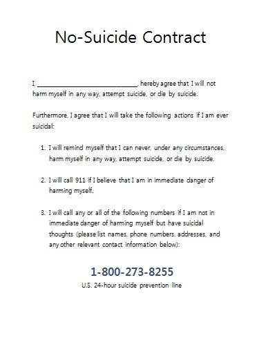 No suicide contract for therapy practices therapist for Safety plan for suicidal clients template