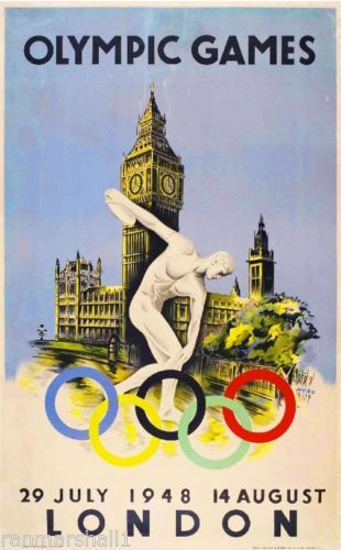 London-Olympics-Great-Britain-Vintage-Travel-Advertisement-Poster-Picture-Print