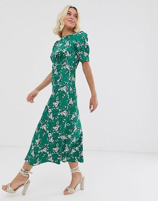 Asos Design Midi Tea Dress In Green Floral Print Asos Long Sleeve Floral Midi Dress Tea Dress Ruched Maxi Dress
