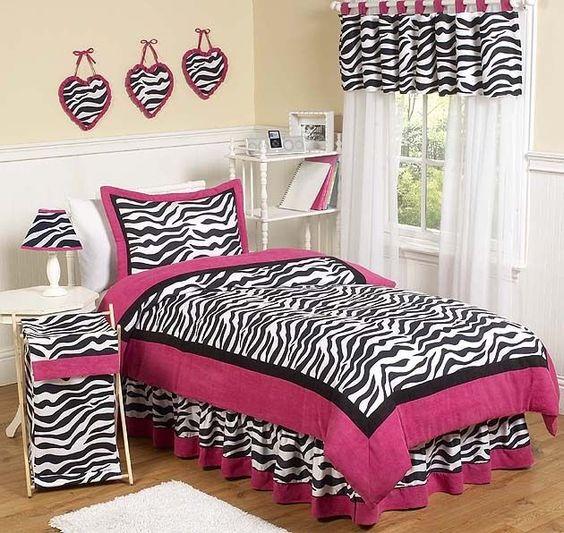 Bedroom Zebra Jarrah Bedroom Furniture Bedroom Bay Window Seat Bedroom Roof Ceiling Design: PINK ZEBRA PRINT KIDS FULL QUEEN SIZE BED BEDDING