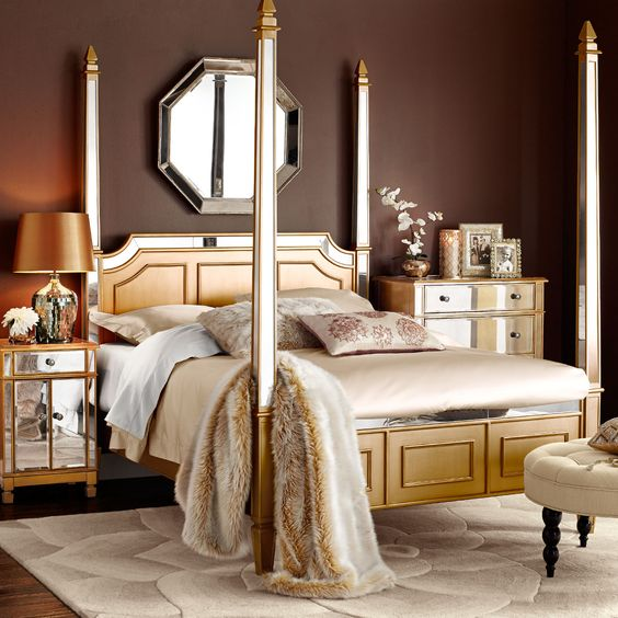 Hayworth queen canopy bed gold tan brown rooms for Gold bed canopy