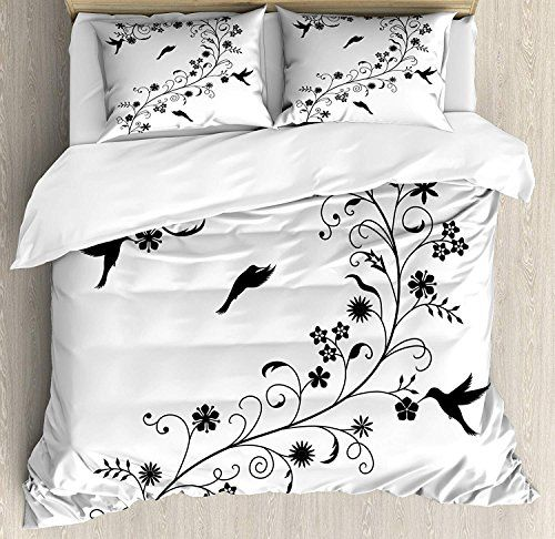 Queen Size 4 Piece Duvet Cover Set Black And White Victorian Curves Swirls With Bird Silhouettes Monochrome White Bed Set Full Bedding Sets Black White Bedding