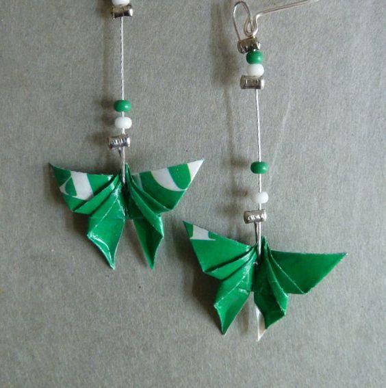 Green Butterfly Origami earrings