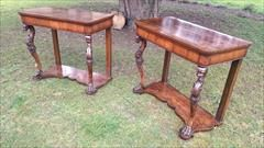 """Charming rare pair of antique console tables with great colour and patination. Pairs of consoles are very hard to come by and we are very pleased to have these ones in stock. This pair have the advantage of a drawer in each frieze and the platform below. The carving is crisp and fine, they have crossbanding to the top and the lower surface and they are narrow front to back so as to not encroach on the room.  Italian circa 1815 £7,800  86cm / 34"""" high 97cm / 38"""" wide 51cm / 20"""" deep"""