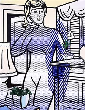 Collage for nude with white flower - Roy Lichtenstein