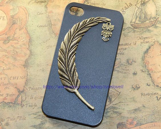 Feather case,little owl case for iPhone 4 Case, iPhone 4s Case, iPhone 4 Hard Case