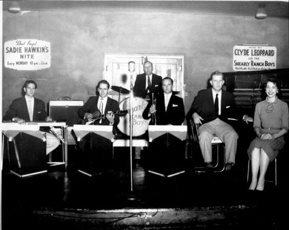 Snearly Ranch Boys in the mid 1950's at the Cotton Club in West Memphis, Arkansas. Stan Kesler, Clyde Leoppard, Smokey Joe Baugh, Barbara Pittman, Bill Taylor.