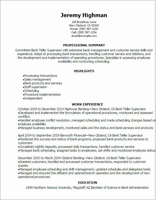 Resume Examples For Bank Teller Lovely Bank Teller Supervisor Resume Template Best Design Tips Bank Teller Resume Job Resume Samples Resume Examples