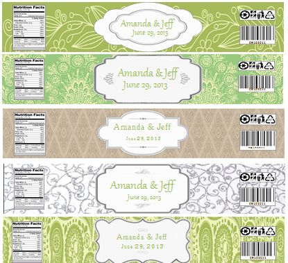 Water Bottle Labels Wedding Bottles Diy Green Labels Silver Water JPeg Labe