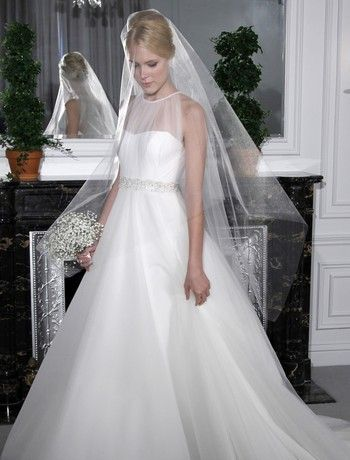 Bridal Gowns: Legends by Romona Keveza A-Line Wedding Dress with Illusion Neckline and Empire Waist Waistline